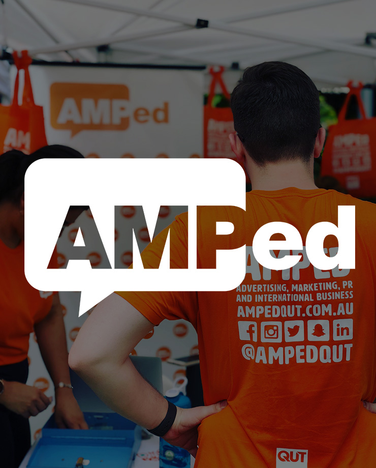 Amped logo on background with tshirt