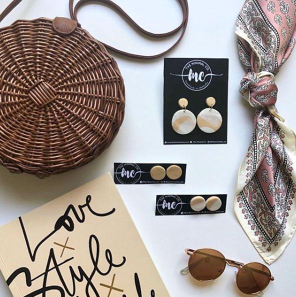 earrings and handbag