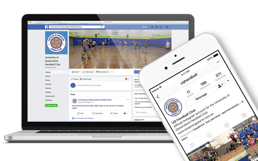 instagram profile and facebook page for uq handball