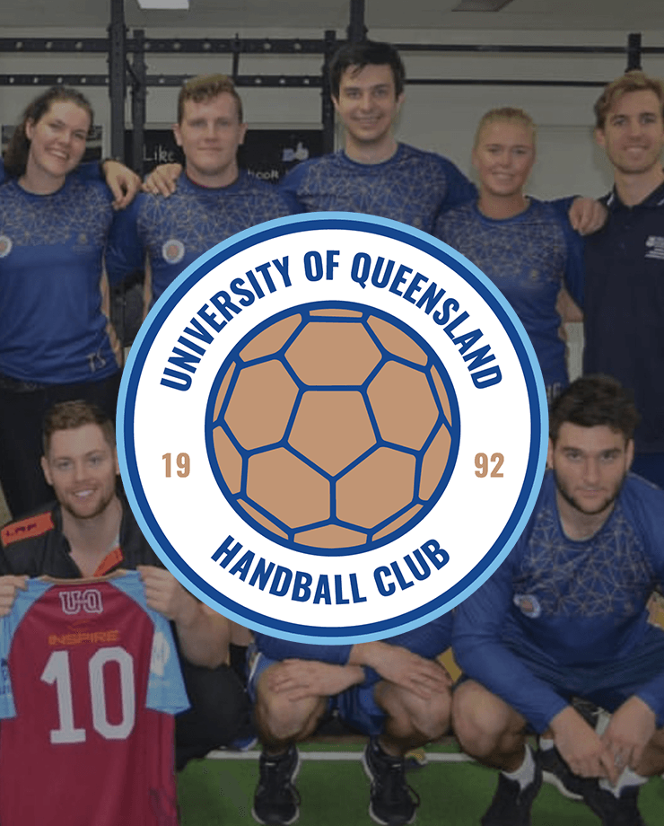 uq handball circle logo on photo of the team