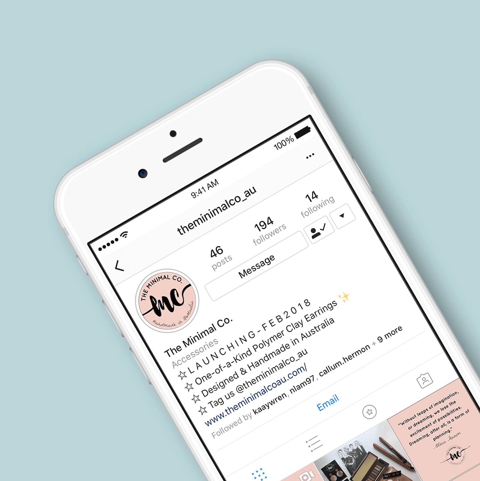Instagram screen shot of Minimal co profile