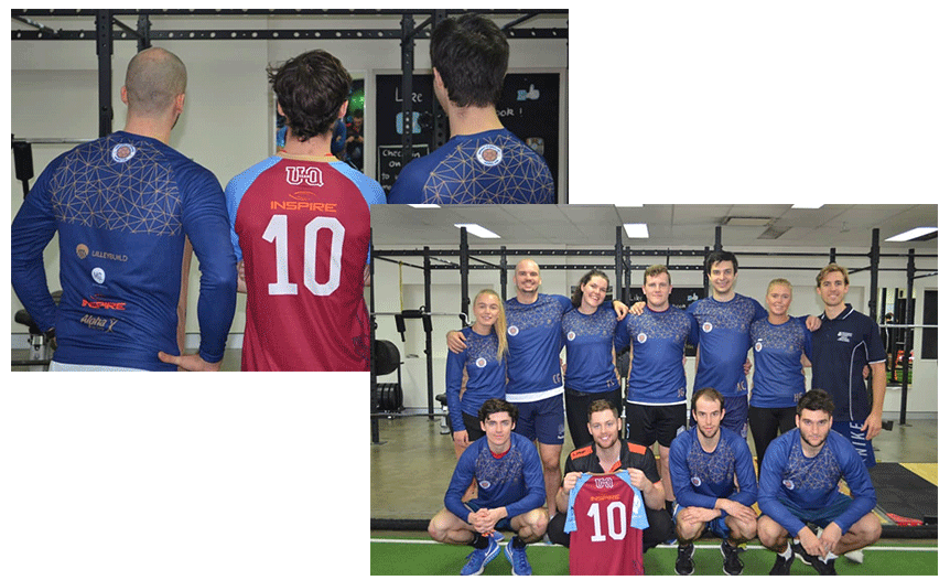 uq handball team with new uniforms on