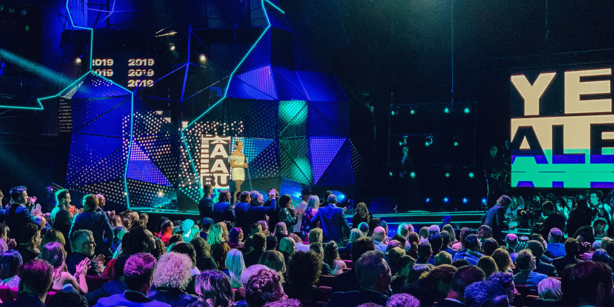 Aria awards stage with blue lighting