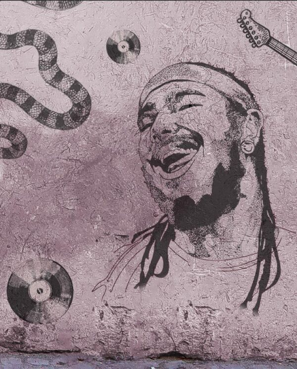 Purple concrete background with a spray paint of Post Malone's face