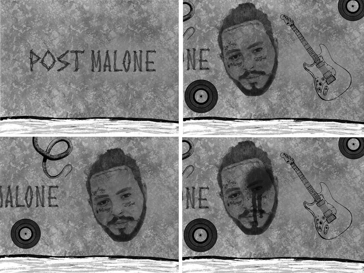 4 sketches of post Malones face