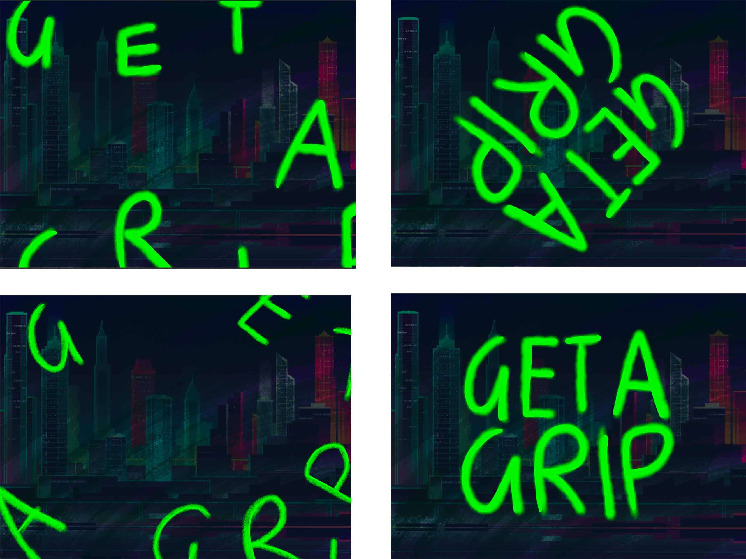 four style frames with the words get a grip on a city background